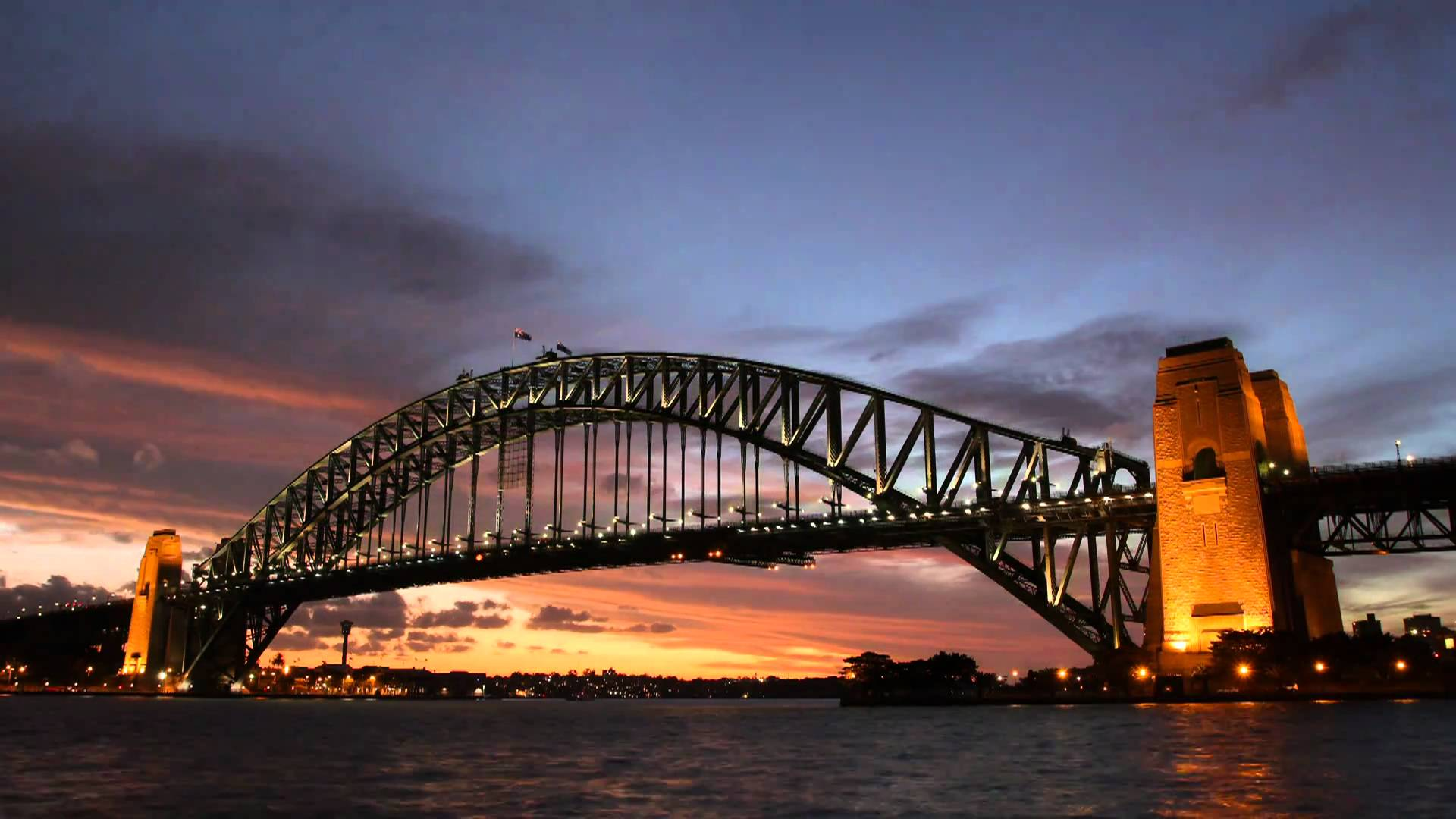 страны архитектура мост ночь река Sydney Harbour Bridge Сидней Австралия бесплатно